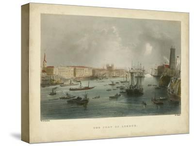 The Port of London-William Henry Bartlett-Stretched Canvas Print