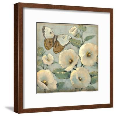 Butterfly and Hollyhocks II-Tim O'toole-Framed Art Print