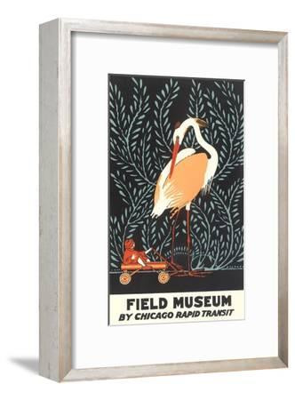 Poster for Field Museum with Giant Heron--Framed Giclee Print