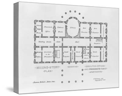 Floor Plan of the White House--Stretched Canvas Print