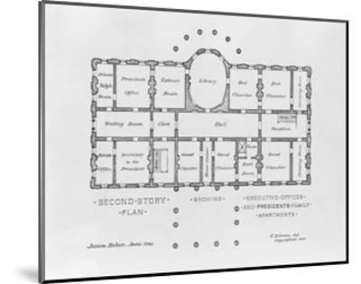 Floor Plan of the White House--Mounted Giclee Print