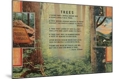 Joyce Kilmer Trees Poem, Forest--Mounted Giclee Print