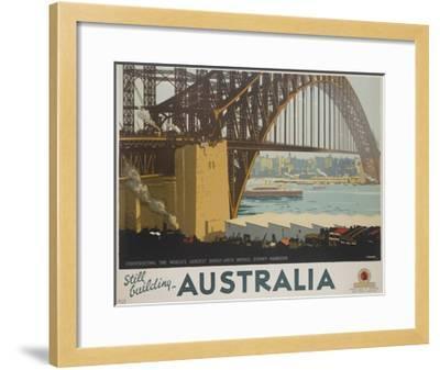 Australia, Constructing the Sydney Harbor Bridge Travel Poster--Framed Giclee Print