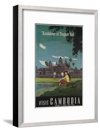 Landscape of Angkor Wat, Visit Cambodia 1950s Travel Poster--Framed Giclee Print