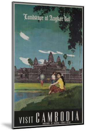 Landscape of Angkor Wat, Visit Cambodia 1950s Travel Poster--Mounted Giclee Print