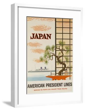Japan American President Lines Cruise Poster--Framed Giclee Print