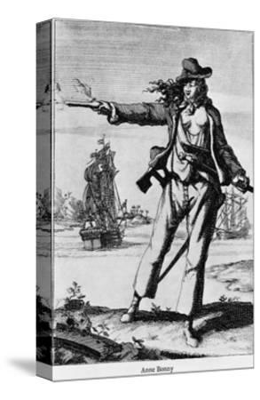 Illustration of Ann Bonney the Pirate--Stretched Canvas Print