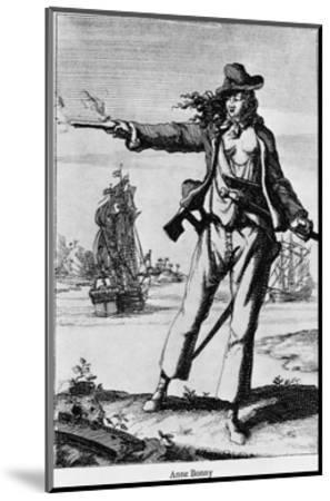 Illustration of Ann Bonney the Pirate--Mounted Giclee Print