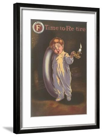 Sleepy Boy with Tire and Candle--Framed Giclee Print