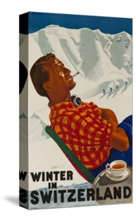 Winter in Switzerland Travel Poster--Stretched Canvas Print