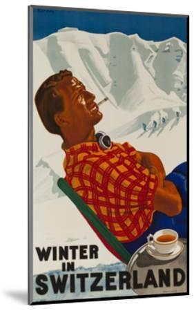 Winter in Switzerland Travel Poster--Mounted Premium Giclee Print
