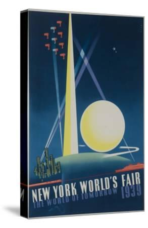 1939 New York World's Fair Poster, the World of Tomorrow, Blue--Stretched Canvas Print