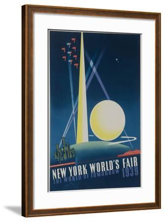 1939 New York World's Fair Poster, the World of Tomorrow, Blue--Framed Giclee Print
