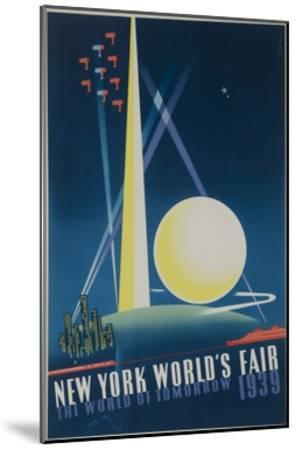 1939 New York World's Fair Poster, the World of Tomorrow, Blue--Mounted Giclee Print