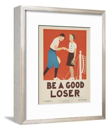 1938 Character Culture Citizenship Guide Poster, Be a Good Loser--Framed Premium Giclee Print
