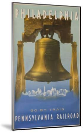 Pennsylvania Railroad Travel Poster, Philadelphia Go by Train, Libertybell--Mounted Giclee Print
