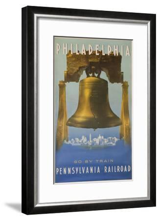 Pennsylvania Railroad Travel Poster, Philadelphia Go by Train, Libertybell--Framed Giclee Print