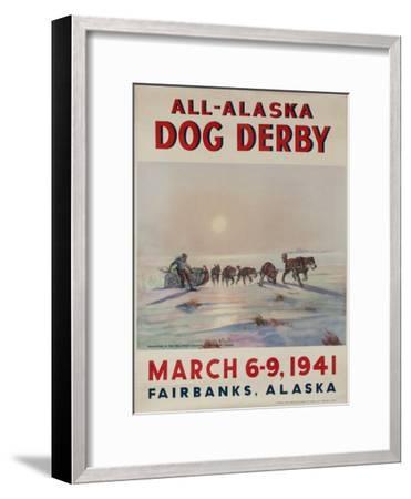1941 All Alaska Dog Derby Poster--Framed Giclee Print