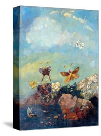 Butterflies-Odilon Redon-Stretched Canvas Print