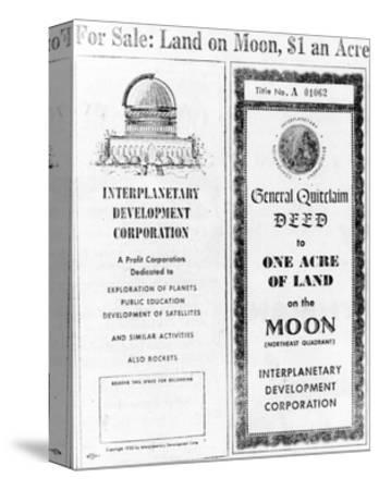 Advertisement for Lunar Real Estate--Stretched Canvas Print