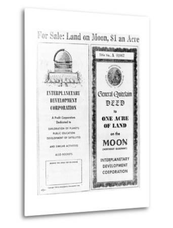 Advertisement for Lunar Real Estate--Metal Print