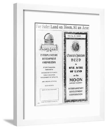 Advertisement for Lunar Real Estate--Framed Giclee Print