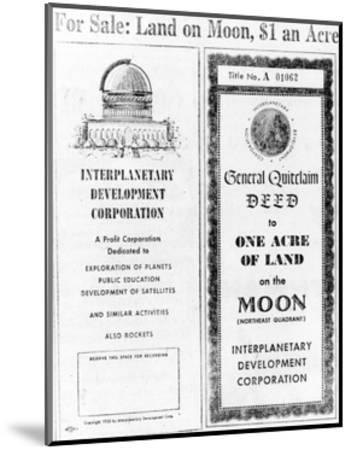 Advertisement for Lunar Real Estate--Mounted Giclee Print