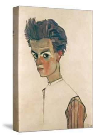 Self-Portrait with Striped Shirt-Egon Schiele-Stretched Canvas Print