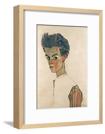 Self-Portrait with Striped Shirt-Egon Schiele-Framed Giclee Print