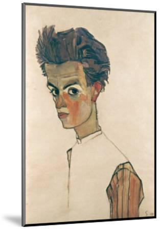 Self-Portrait with Striped Shirt-Egon Schiele-Mounted Giclee Print