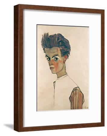 Self-Portrait with Striped Shirt-Egon Schiele-Framed Giclee Print