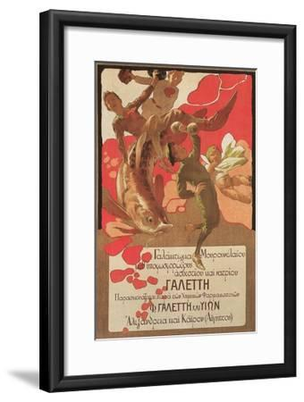 Greek Poster with Children and Large Fish--Framed Giclee Print