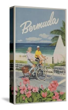 Bermuda Travel Poster, Couple on Bicycle--Stretched Canvas Print