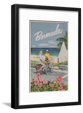 Bermuda Travel Poster, Couple on Bicycle--Framed Giclee Print