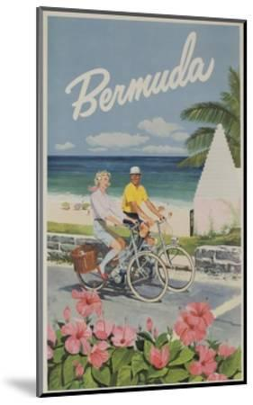 Bermuda Travel Poster, Couple on Bicycle--Mounted Giclee Print