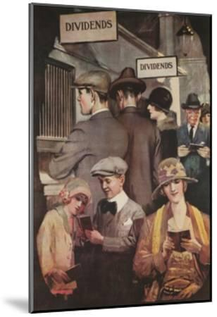 1920s American Banking Poster, Dividends--Mounted Giclee Print