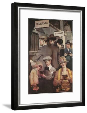 1920s American Banking Poster, Dividends--Framed Giclee Print