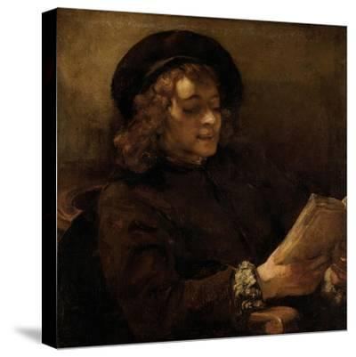 Titus Van Rijn, the Artist's Son, Reading-Rembrandt van Rijn-Stretched Canvas Print