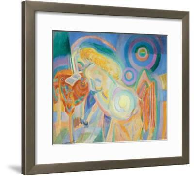 Femme Nue Lisant (Nude Woman Reading)-Robert Delaunay-Framed Giclee Print