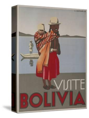 Visit Bolivia 1935 Travel Poster--Stretched Canvas Print