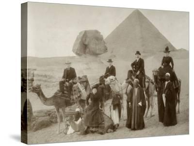 British Tourist Visiting the Pyramids of Giza--Stretched Canvas Print