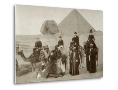 British Tourist Visiting the Pyramids of Giza--Metal Print