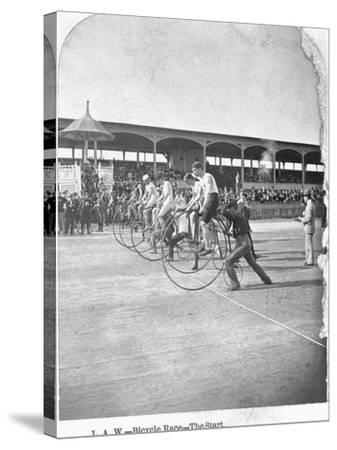 Starting Line of a Penny-Farthing Bicycle Race-George Barker-Stretched Canvas Print