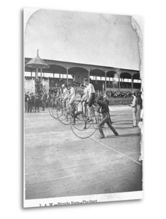 Starting Line of a Penny-Farthing Bicycle Race-George Barker-Metal Print