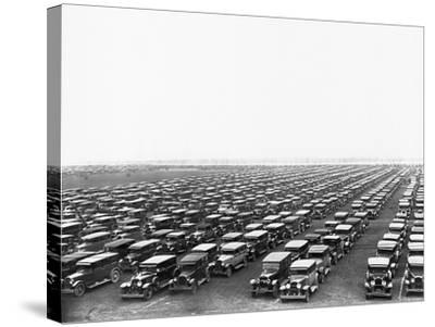 Car-Filled Soldier Field Parking Lot--Stretched Canvas Print