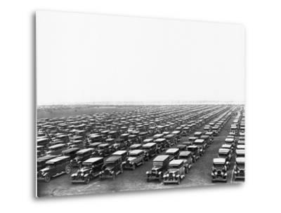 Car-Filled Soldier Field Parking Lot--Metal Print