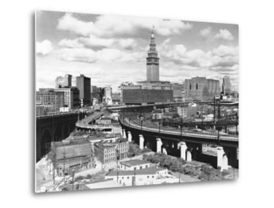 Skyline of Cleveland-Carl McDow-Metal Print