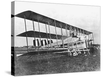 Passengers Standing on Middle Wing of Triplane--Stretched Canvas Print
