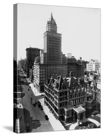 Aerial View of the Crown Building and Vanderbilt Mansion, New York-Irving Underhill-Stretched Canvas Print