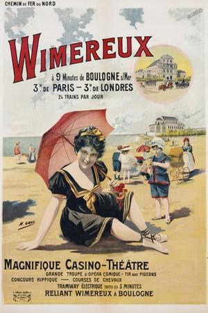 Wimereux Travel Poster-Henri Gray-Stretched Canvas Print